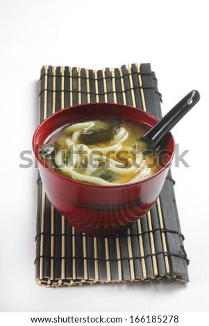 miso and noodles soup bowl - stock photo