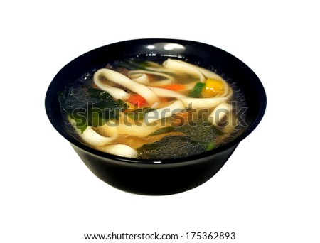 Miso soup with pasta, wakame seaweed, noodles and vegetables