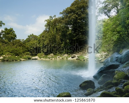 Misol Ha waterfall in Chiapas Mexico - stock photo