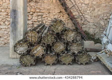 Missile carrying old case in Balaklava Naval museum submarine complex in Crimea, Russia.  - stock photo