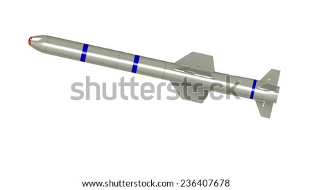 Missile isolated on white background. military rocket weapons. Highresolution digitally generated image - stock photo