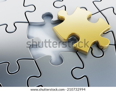 Missing gold puzzle piece on puzzle parts. - stock photo