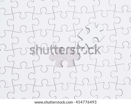 Missing jigsaw puzzle piece , Close up of the last jigsaw puzzle piece, Business concept for completing the final puzzle piece.