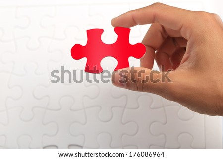 Missing jigsaw puzzle piece, completing the final puzzle piece