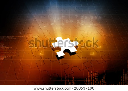 Missing jigsaw puzzle piece with light glow - stock photo