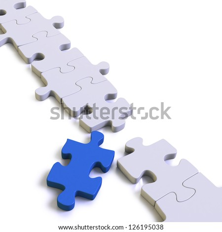 Missing piece in a chain or assembly as a jigsaw puzzle on white background