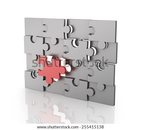 Missing Piece of Jigsaw Puzzle - stock photo