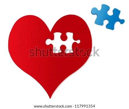 Missing Piece To My Heart with blue and red - stock photo