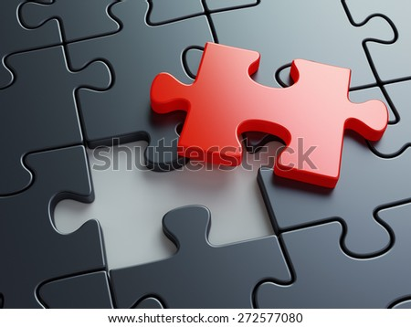 Missing puzzle piece. Business creativity, teamwork and solution concept. - stock photo