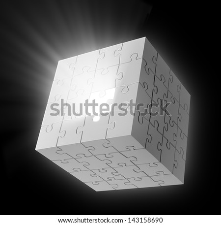 Missing puzzle piece - Cube shaped puzzle - stock photo