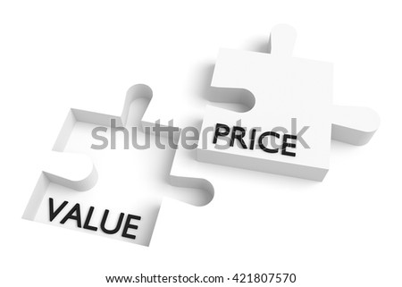 Missing puzzle piece, value and price, white, 3d illustration - stock photo