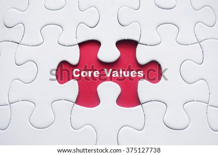 Missing puzzle with Core Values word - stock photo