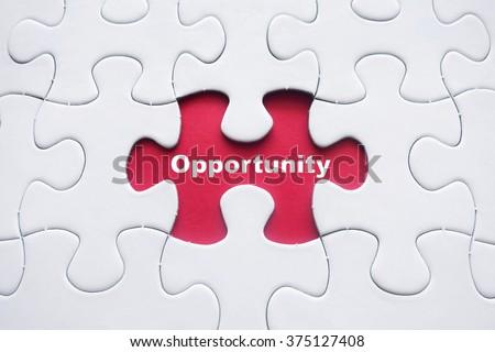 Missing puzzle with Opportunity word - stock photo