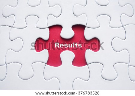 Missing puzzle with Results word - stock photo