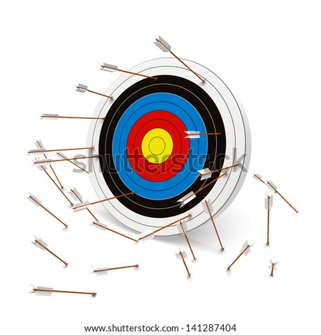 Missing the mark, Multiple arrows missing the target. - stock photo