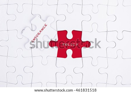 Missing white puzzle with INSURANCE POLICY word and copyspace area