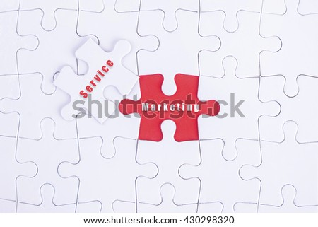 Missing white puzzle with Service, Marketing word and copyspace area