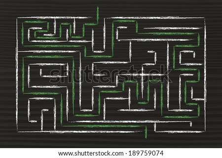 mission accomplished and solution found: maze with path completed - stock photo