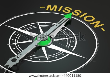 Mission compass concept, 3D rendering - stock photo