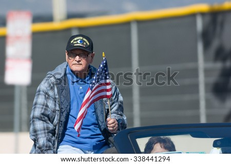 Mission Hills, USA - November 11, 2015: 96th Infantry Division veteran during The San Fernando Valley Veterans Day Parade - stock photo