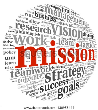 Mission in business concept in word tag cloud isolated on white background - stock photo