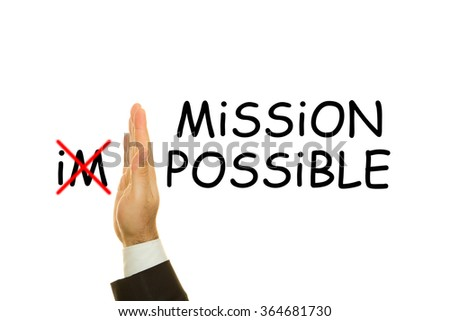 Mission Possible word write on white background  - stock photo