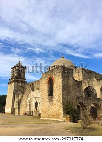 """Mission San José y San Miguel de Aguayo """"Queen of the Missions"""", San Antonio, Texas, USA - stock photo"""