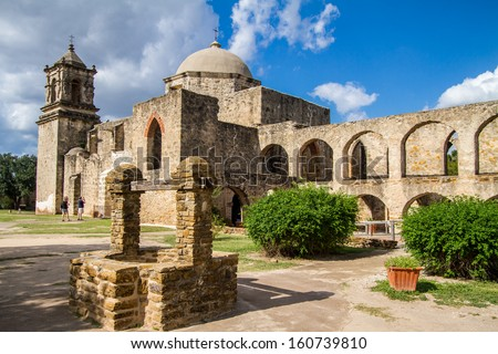 Mission San Jose is a historic Catholic mission in San Antonio, Texas, USA. It was founded in 1720 by Fray Antonio Margil de Jesus. - stock photo