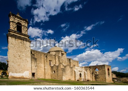 Mission San Miguel de Aguayo is a historic Catholic mission in San Antonio, Texas, USA. It was founded on February 23, 1720. - stock photo