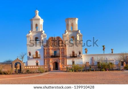 Mission San Xavier del Bac in Tohono O'odham Indian Reservation, Arizona. - stock photo