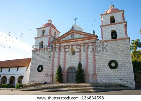 Mission Santa Barbara, founded 1786, with Christmas decor, in Santa Barbara, California - stock photo
