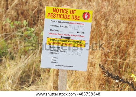 MISSION - SEPTEMBER 18, 2016: A notice informing the public that glyphosate or Roundup has been sprayed near Mission, BC on September 18, 2016.