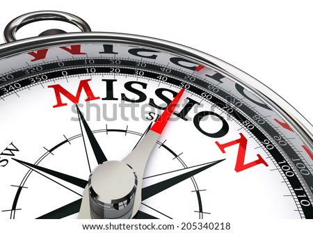 mission the way indicated by concept compass isolated on white background - stock photo