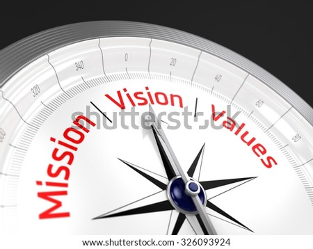 Mission Vision Values | Compass - stock photo