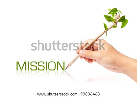 Mission wording with creative pencil with green tree on white backgorund - stock photo