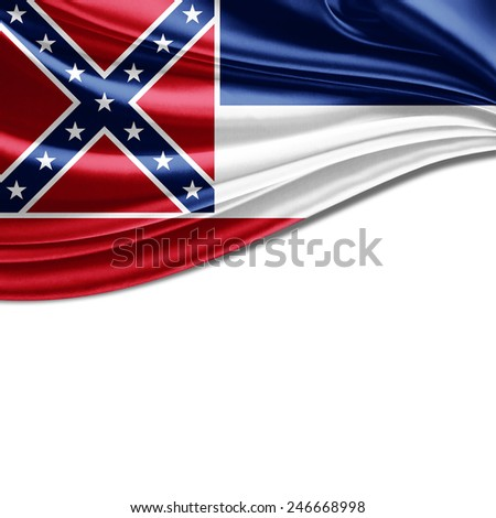 Mississippi flag and white background - stock photo