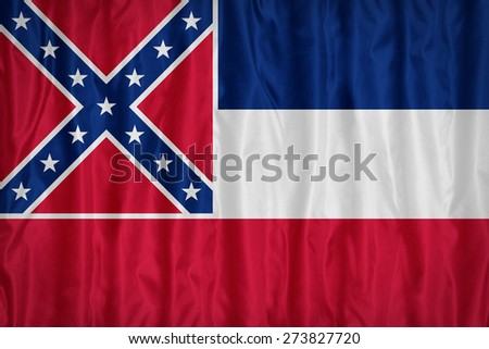 Mississippi flag pattern with a peace on fabric texture,retro vintage style - stock photo