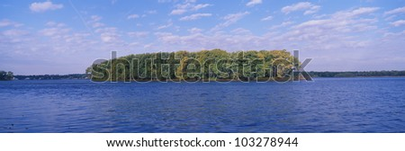 Mississippi River along Great River Road, Quad Cities, Illinois/Iowa - stock photo