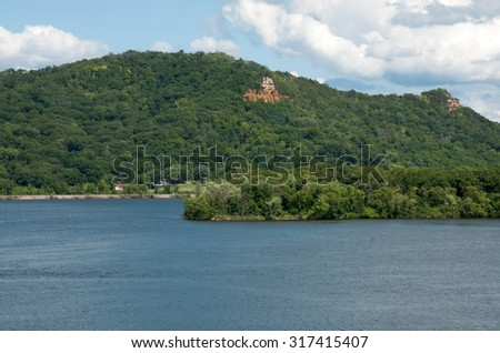 Mississippi River and river bluff in southeast Minnesota at Lake Pepin