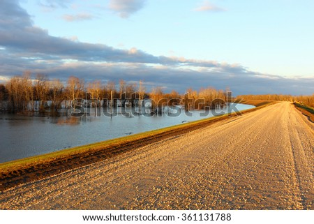 Mississippi River Flood - stock photo