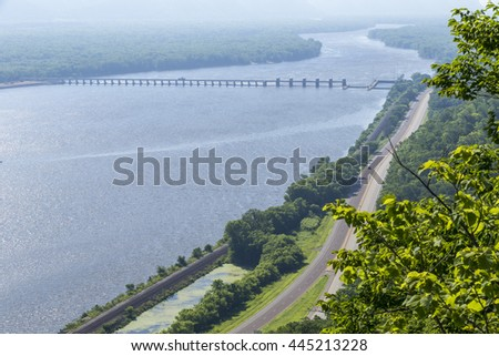 Mississippi River Scenic with Dam - stock photo