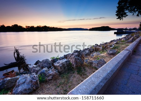 Mississippi River Sunset From the River Front Park, La Crosse Wisconsin - stock photo