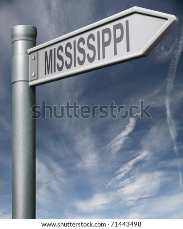 Mississippi road sign arrow pointing towards one of the united states of america signpost with clipping path