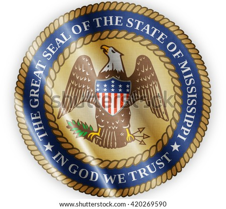 Mississippi seal waving flag close - stock photo