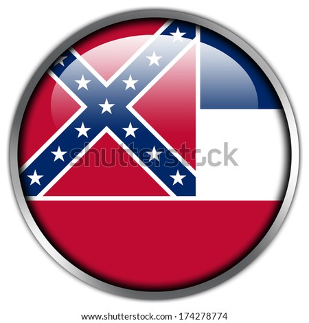 Mississippi State Flag glossy button - stock photo