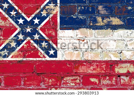 Mississippi state flag of America on brick wall