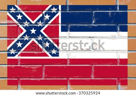 Mississippi state flag of America on brick wall - stock photo
