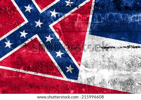 Mississippi State Flag painted on grunge wall - stock photo