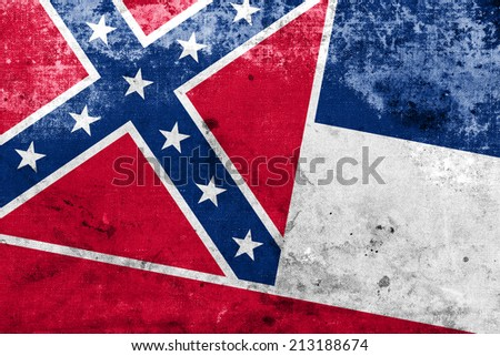 Mississippi State Flag with a vintage and old look - stock photo