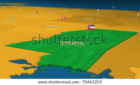 Mississippi - United States Series with flags and state names - stock photo